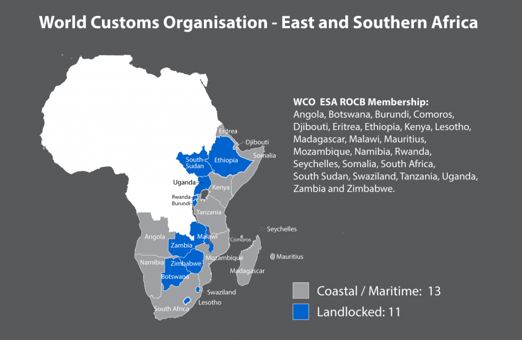 Map of WCO ESA region membership