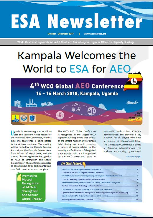 WCO ESA Newsletter October – December Edition